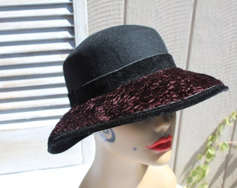 448a040dbc6 Vintage black brown wool velvet ladies hat. Dress up formal special  occasion hat. Platania. Made in Italy. Lovely hat!