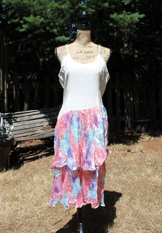 Vintage cream pink purple blue floral silk summer