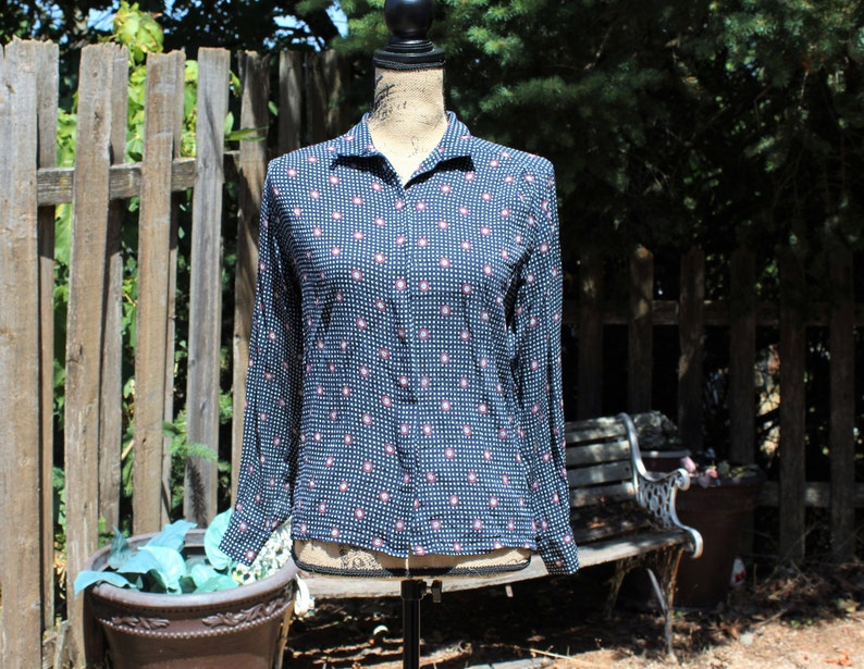 b8fb9f719321d Vintage blue red white polka dot blouse top button up. Anne