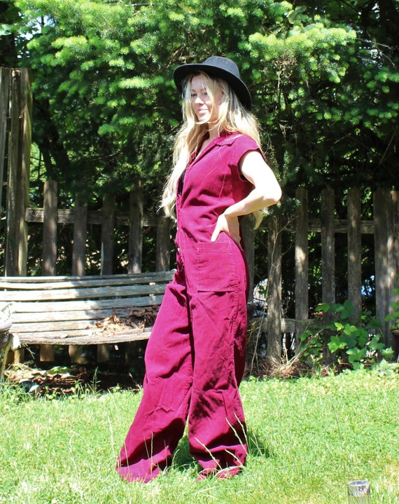 You Babes corduroy jumpsuit burgundy coveralls romper button 1970s Cute pockets with up Vintage two qa7OFxwa