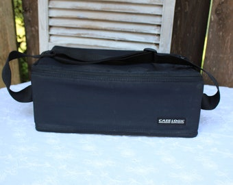 Vintage/black/cassette/case/carrier/with straps. Case Logic. Made in U.S.A. Carries 60 cassettes. 1980s. Cool case!!