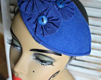 Vintage. Blue. Headpeice. Yellow Bird tag inside.