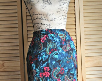 Vintage! Skirt. 1980's. Red/blue/green/floral/tropical/print. Very cute!