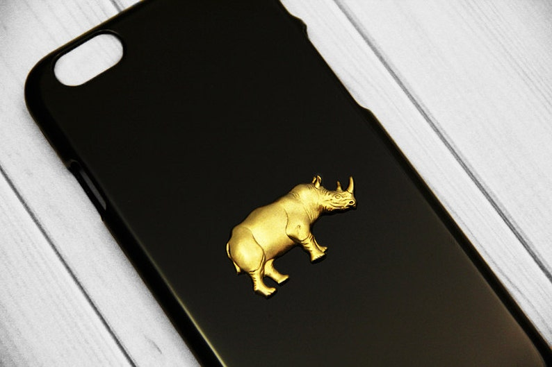 cheap for discount 5e225 1ecfa iPhone 8 Case Rhino Phone Case Rhinoceros iPhone XS Max Mobie Phone Cover  Rhino 5s Cases Apple iPhone Black Animal Case Gold Trendy