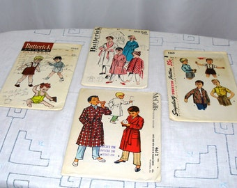 Vintage 1950s boys patterns for sewing. Four in lot.
