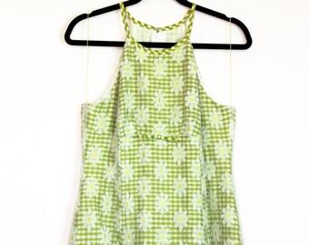 90s | Nanette Lepore Flower Lace Mini Dress w/Green Check Underlay