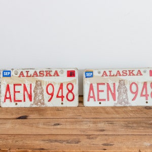 Alaska 1976 License Plate Pair Vintage 1981 Wall Decor