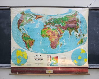 Roll Down World Map.Items Similar To The World Pull Down Wall Map On Etsy