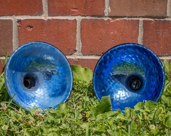 Blue Mercury Glass Pendant Light Shade Vintage Industrial Lighting
