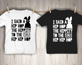cab4900f Boy's Easter Shirt - Hip Hop Bunny Shirt - Hippity Hop Boom Box - Baby Boy  - funny boys shirt - Cool boy shirt - toddler Easter shirt