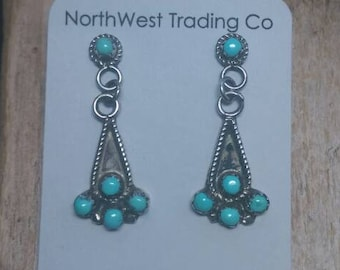 Native American Indian Jewelry,Zuni Turquoise Earrings, Southwest American Indian Jewelry,Authentic Native American Indian Jewelry.