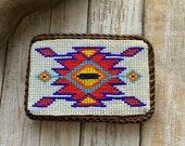 Native America Beaded Buckle, Navajo Belt Buckle, Indian Beaded Buckle, Beaded Belt Buckle, Vintage Navajo Buckle.