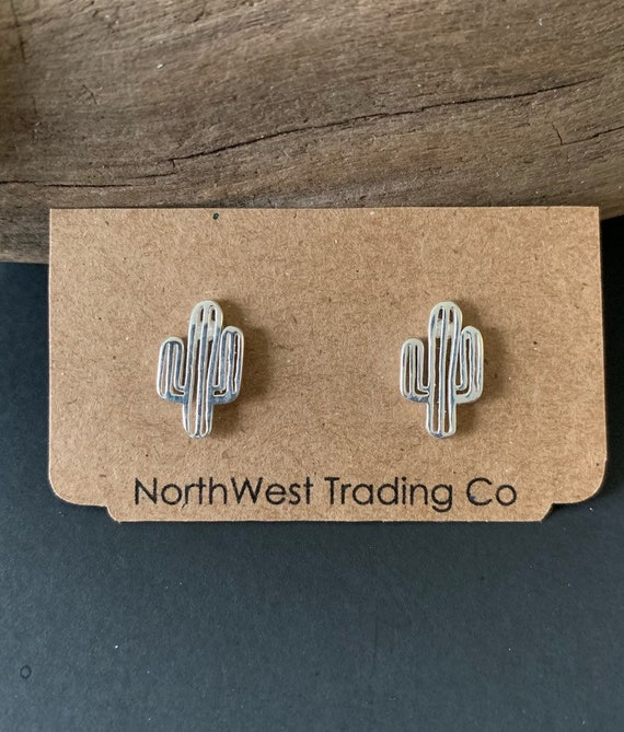 Southwest Jewelry, Sterling Cactus Post Earrings,