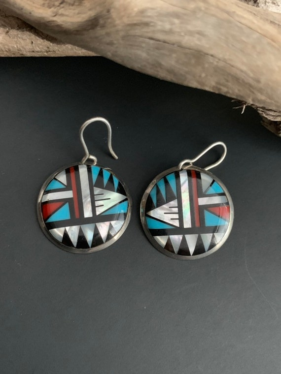 Native American Earrings, SIGNED Turquoise Earring