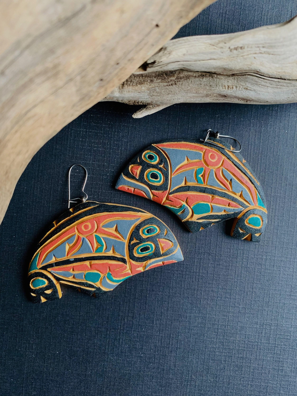 silverfishdesigns Pacific Northwest Indigenous Art Jewelry Haida Mask Ceramic Decal Earrings CeramicFantasyByLina Northernblooms