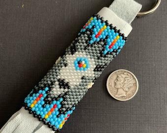 Native America Beaded Keyring ,  Beaded Indian Keyrings, Handcrafted Oneida Keychains , American Indian Beaded Keyring,