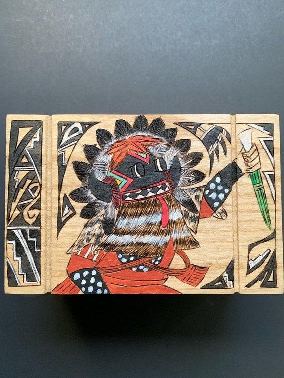 Native America Jewelry Box, Black Ogre Kachina, Ho