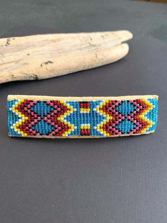 Navajo Beaded Barrette, Native American Hair Clip,
