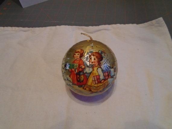Paper Mache Christmas Ornament.Paper Mache Christmas Ornament