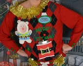 Medium, Ugly Christmas Sweater, Merry titmas, beer or flask Holder, Party Sweater, Woman 39 s, alcohol, one of a kind, party pocket, boob
