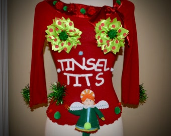 Sexy Ugly Christmas Sweater Xl With Garland Women Party Etsy