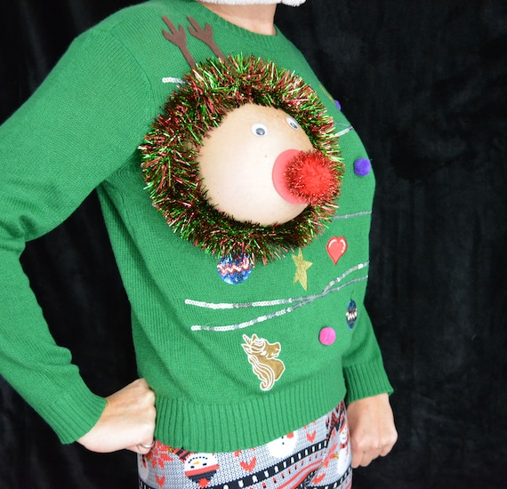 Sexy Ugly Christmas Sweater It Is Not A Plastic Boob Red Or Etsy