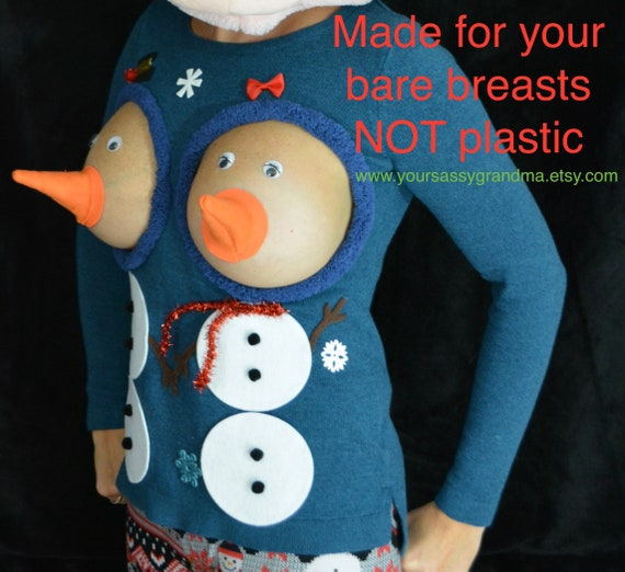 Snowman Boobs Sexy Ugly Christmas Sweater They Are Not Etsy