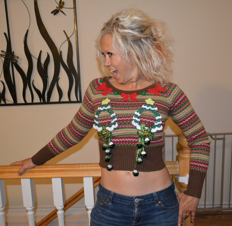 9fc41407e2392 Ugly Christmas sweater Small Sexy Christmas Sweater crop