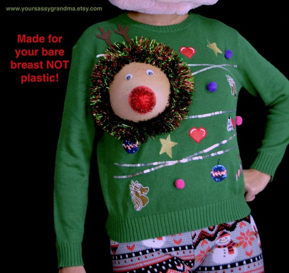 Sexy Ugly Christmas Sweater It Is Not A Plastic Boob Etsy