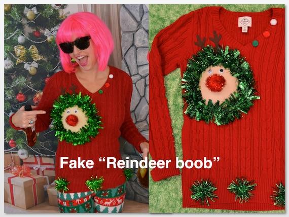 Ugly Christmas Sweater Fake Boob Reindeer Boob Breast Etsy