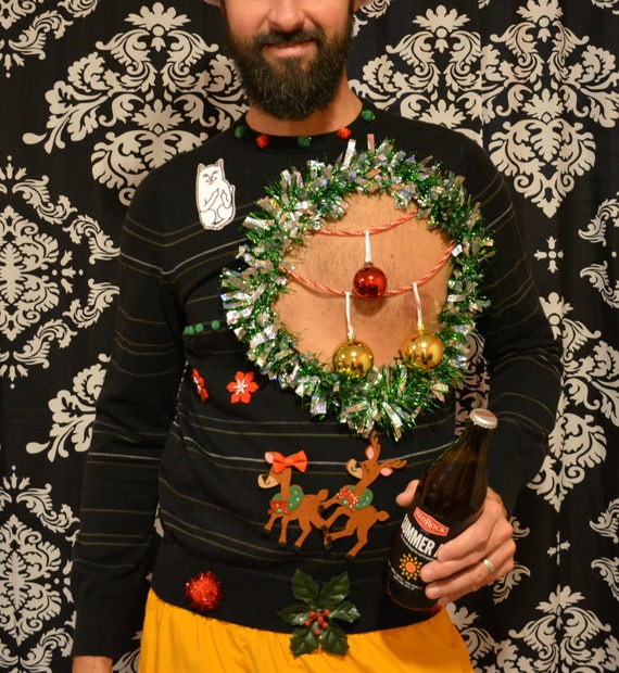 Sexy Ugly Christmas Sweatermedium Mens Balls Chest Etsy