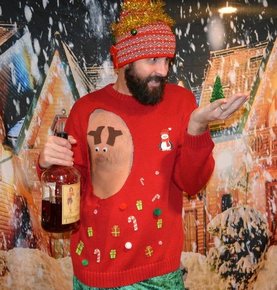 Ugly Christmas Sweater Multiple Sizes Mens Pastie Rudolf Etsy