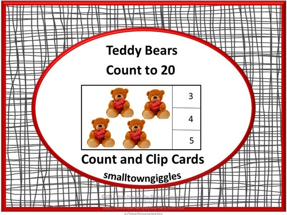 image regarding Printable Task Cards titled Teddy Bears Depend towards 20 Rely and Clip Playing cards, Printable Activity Playing cards, Math Facilities, Preschool, Kindergarten, Unique Training, Autism