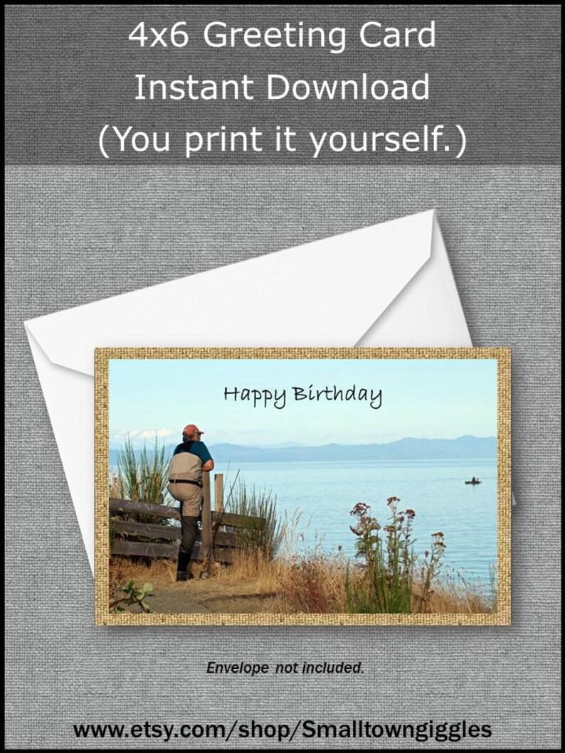 Fisherman Outdoors Man Happy Birthday Greeting Card Nature