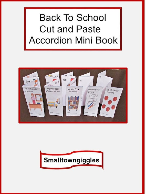 Back To School Cut and Paste Accordion Mini Book Set Fine Motor Skill Preschool Kindergarten Special Education  Autism Daycare Summer School