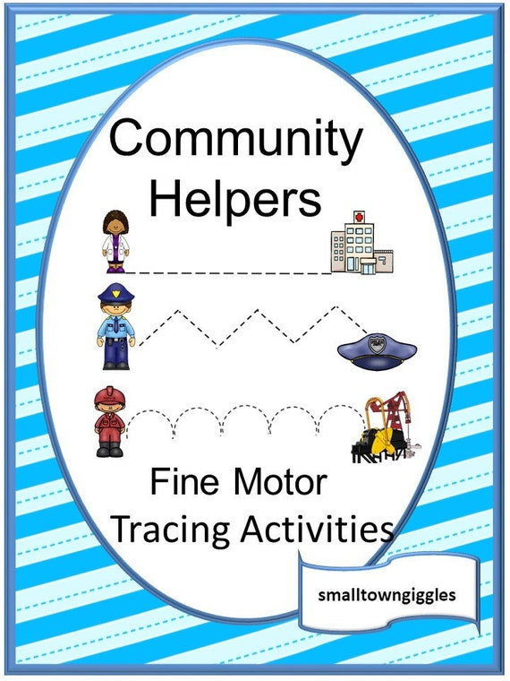 Community Helpers Activities,Tracing Worksheets,Fine Motor Skills  Activities,Digital Download, Printable Worksheets,Preschool, Kindergarten