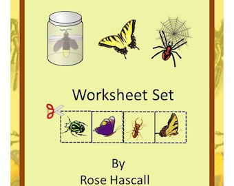 Teaching Materials, Instant Printable, Back to School, Home School, Bugs and Butterflies Cut and Paste Pre-K,K,Special Education, Autism
