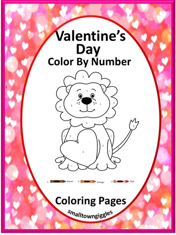 Valentine's Day Color By Number Coloring Pages Fine Etsy