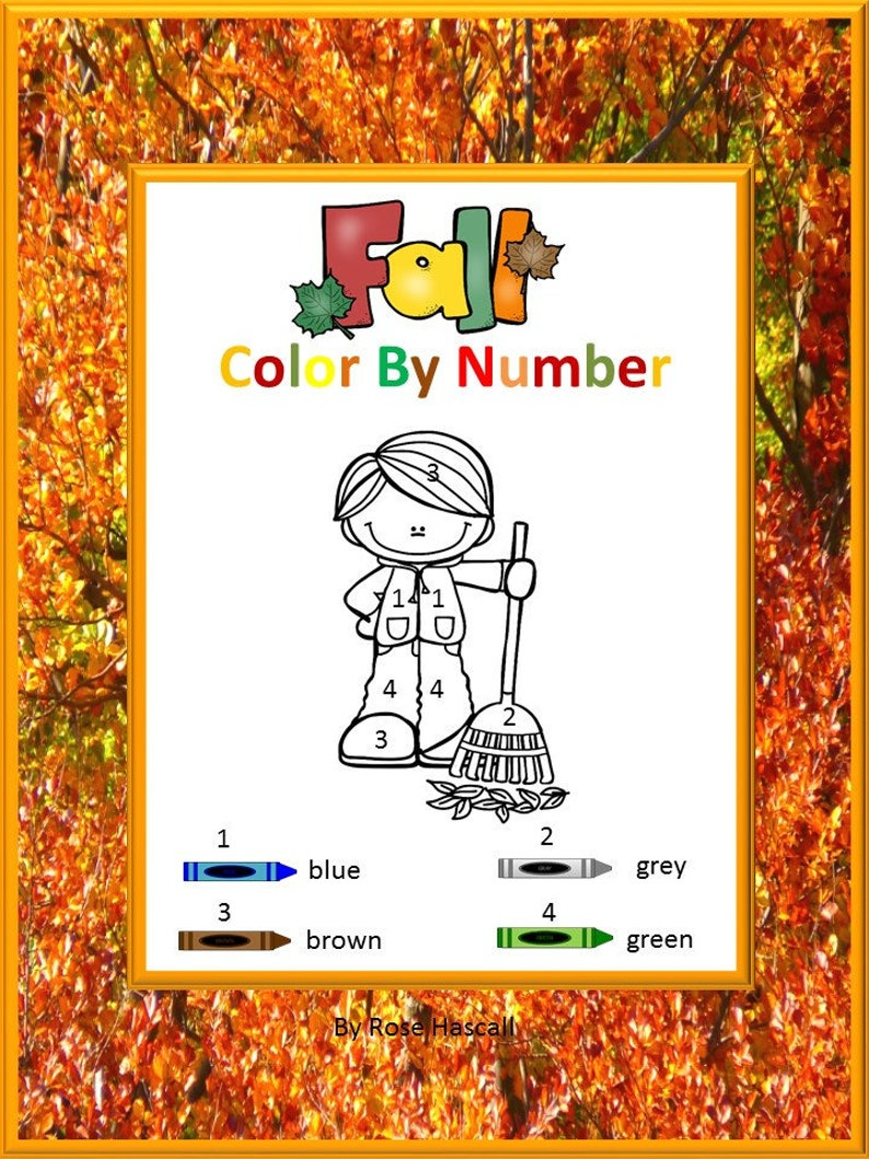 Fall Color By Number Math Center Kindergarten Special Education Autism Resources Fine Motor Skills Digital Download Printable Coloring Pages