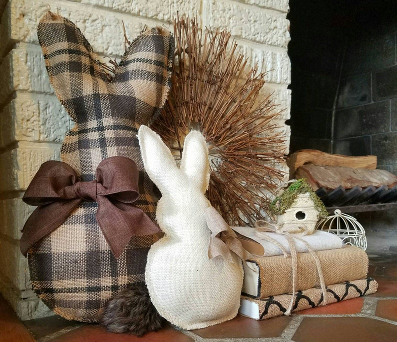 Burlap Bunny easter decor Easter Bunny Door Hanger