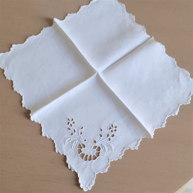 Vintage Wedding CutworkEmbroidered White Handkerchief  Wedding Something Old Gift Mothers Day Gift Linen Sewing Supplies