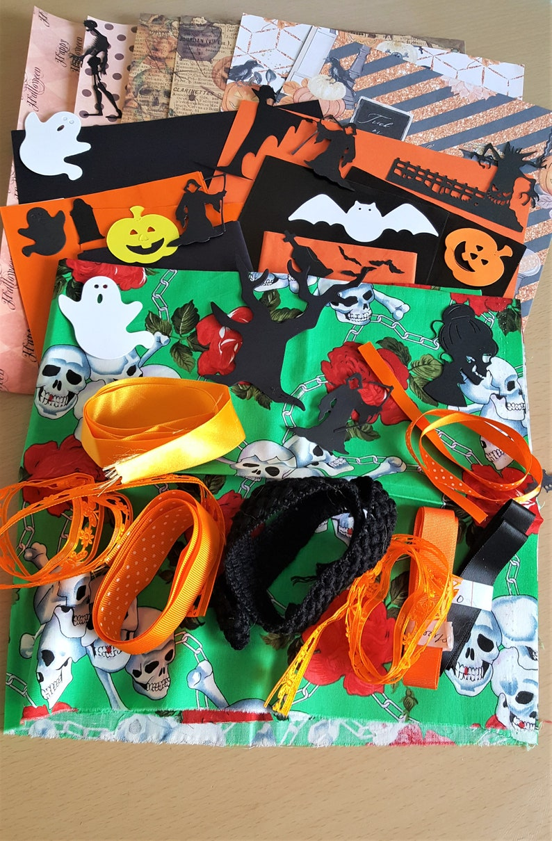 Gothic Day of the Dead Fabric Ephemera Ribbons Die cuts Inspiration Kit Journal Supplies