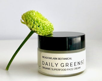 Daily Greens Face Cream   Organic Superfood Moisturizer for Normal to Dry Skin   Vegan + Non GMO