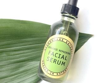 Organic Facial Serum for Sensitive Skin - Calm, Soothe + Repair   Vegan Face Oil w. Argan, Turmeric, Helichrysum    Eczema + Rosacea Safe