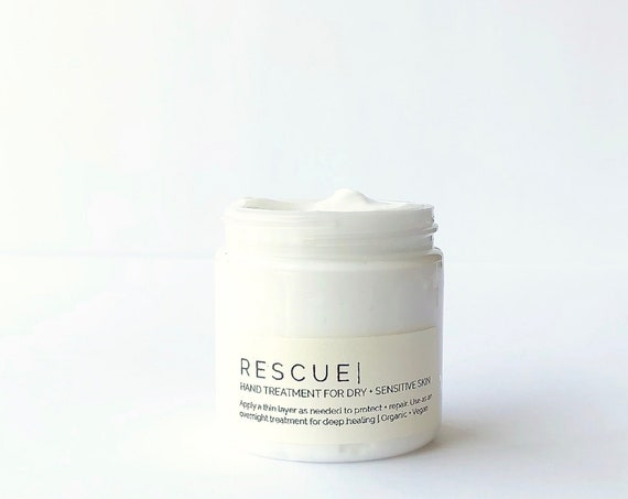 RESCUE - Intensive Hand Cream for Dry + Sensitive Skin |  Unscented Organic Dry Skin Treatment 4.5 fl oz