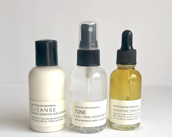 Organic Skincare Gift Set for Dry & Sensitive Skin with Active Natural Botanicals