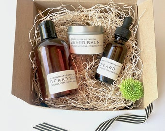 Organic Beard Grooming Kit - Beard Oil, Balm & Hydrating Wash