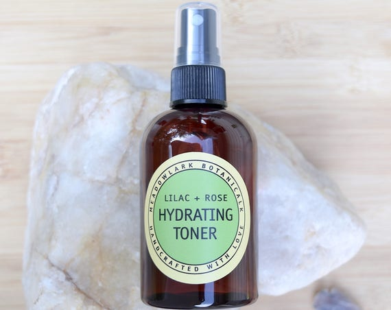 Natural Facial Toner Spray with Lilac & Rose - Hydrating Face Mist for Sensitive Skin