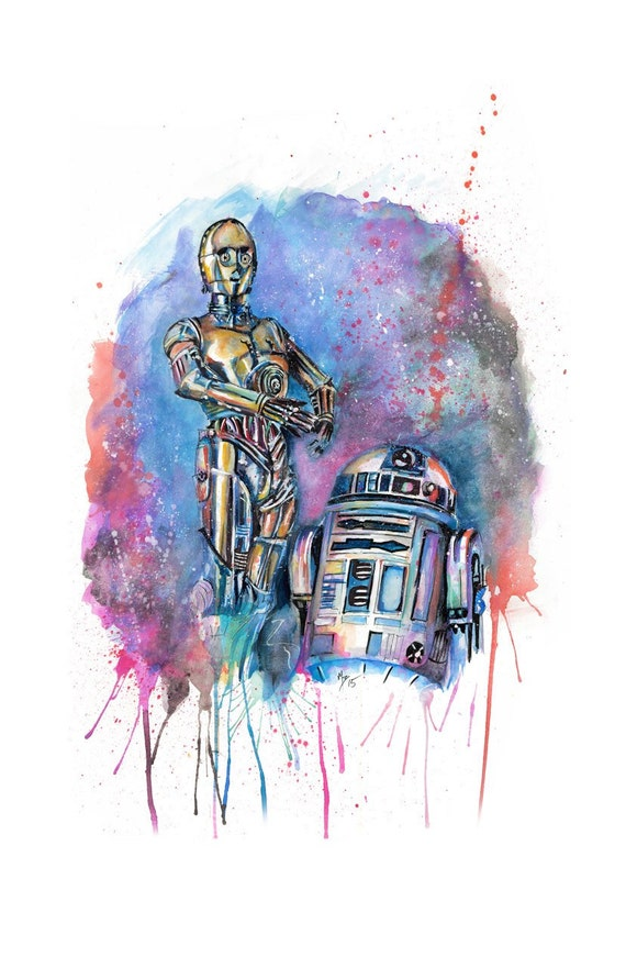 Lámina acuarela Star Wars C3PO y R2-D2