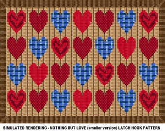 Latch Hook Pattern - Nothing But Love Latch Hook Rug Pattern - Mailed Pattern Only! Free Shipping Within United States Only!